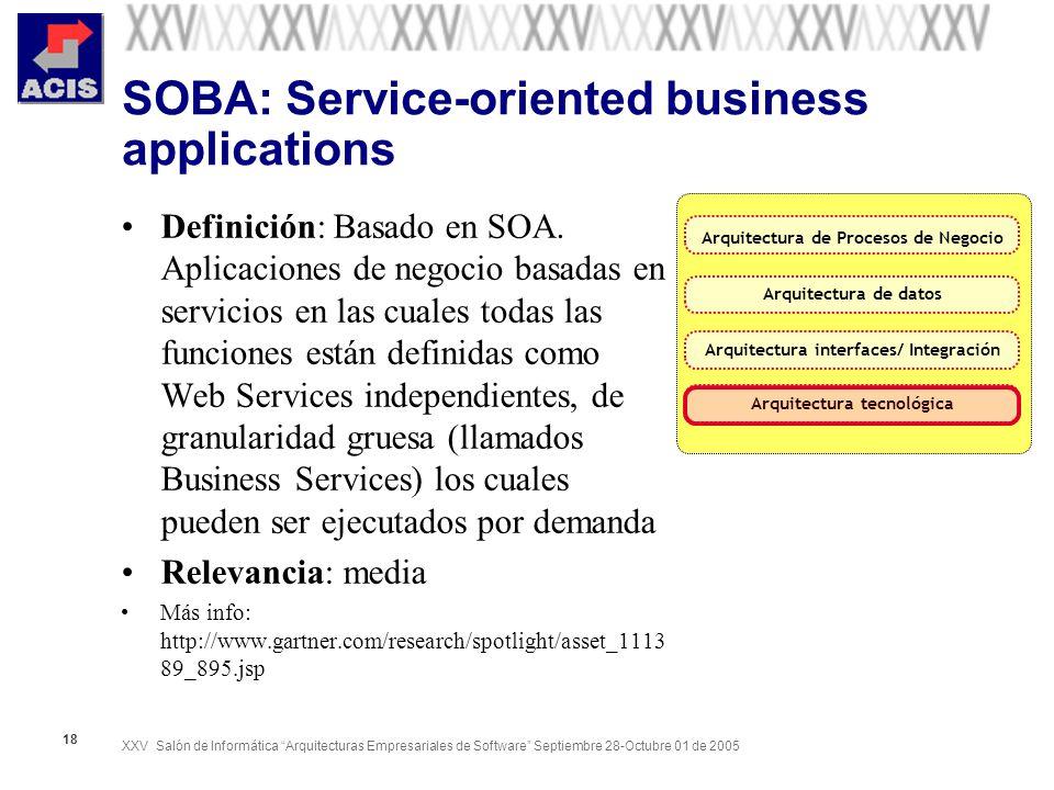 XXV Salón de Informática Arquitecturas Empresariales de Software Septiembre 28-Octubre 01 de 2005 18 SOBA: Service-oriented business applications Defi