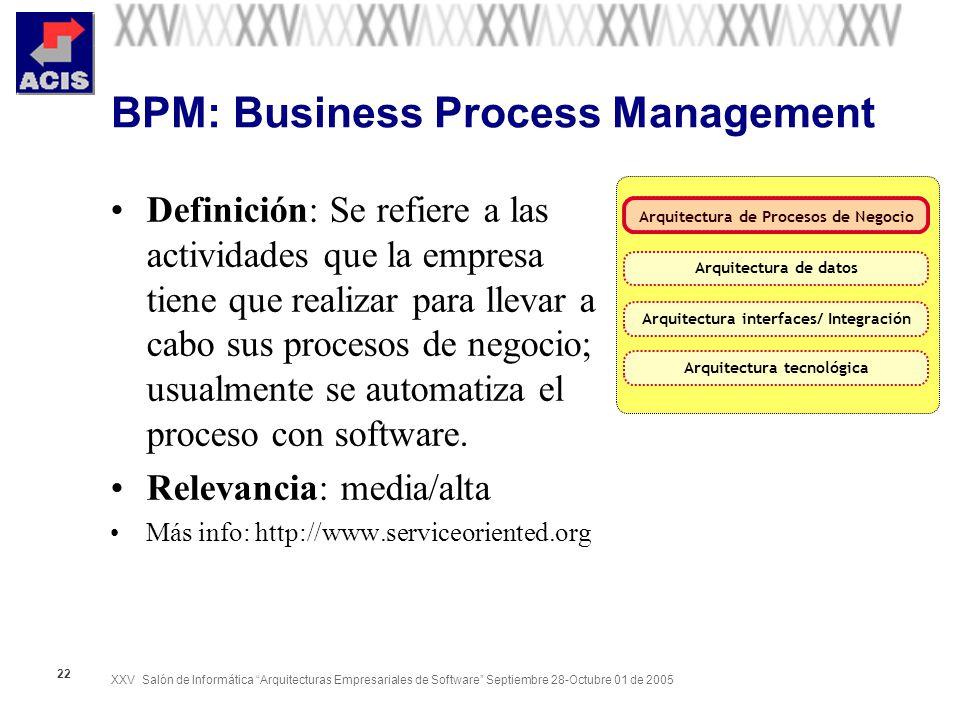 XXV Salón de Informática Arquitecturas Empresariales de Software Septiembre 28-Octubre 01 de 2005 22 BPM: Business Process Management Definición: Se r