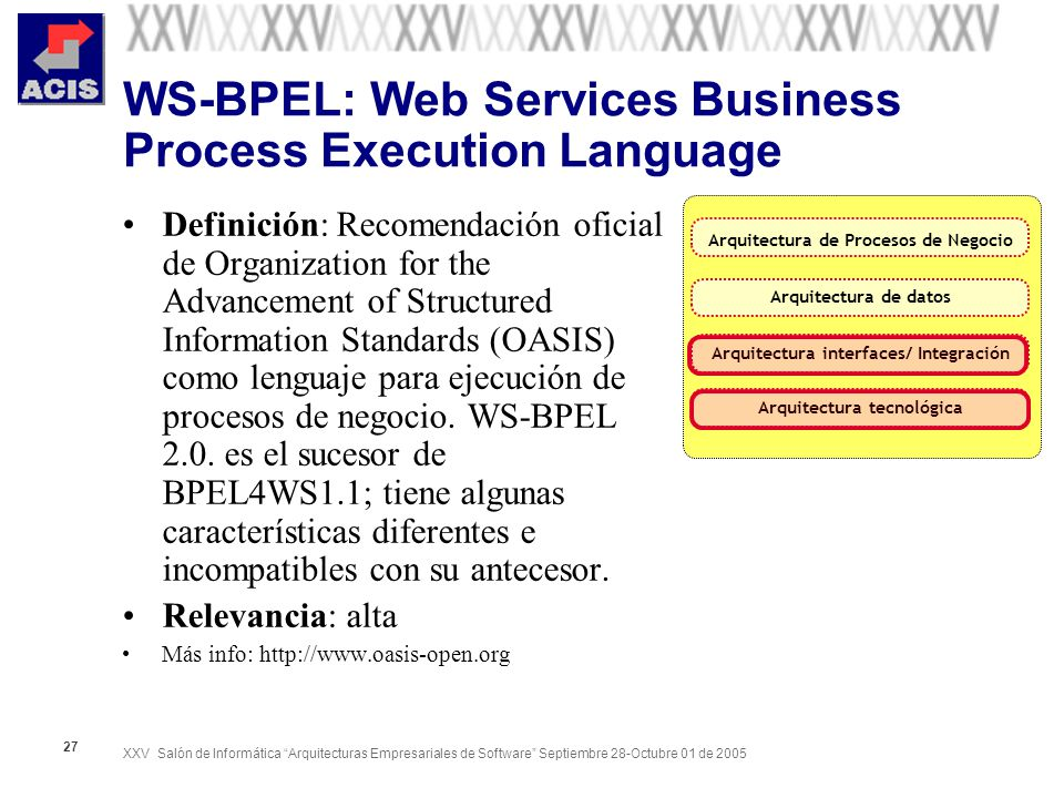 XXV Salón de Informática Arquitecturas Empresariales de Software Septiembre 28-Octubre 01 de 2005 27 WS-BPEL: Web Services Business Process Execution Language Definición: Recomendación oficial de Organization for the Advancement of Structured Information Standards (OASIS) como lenguaje para ejecución de procesos de negocio.