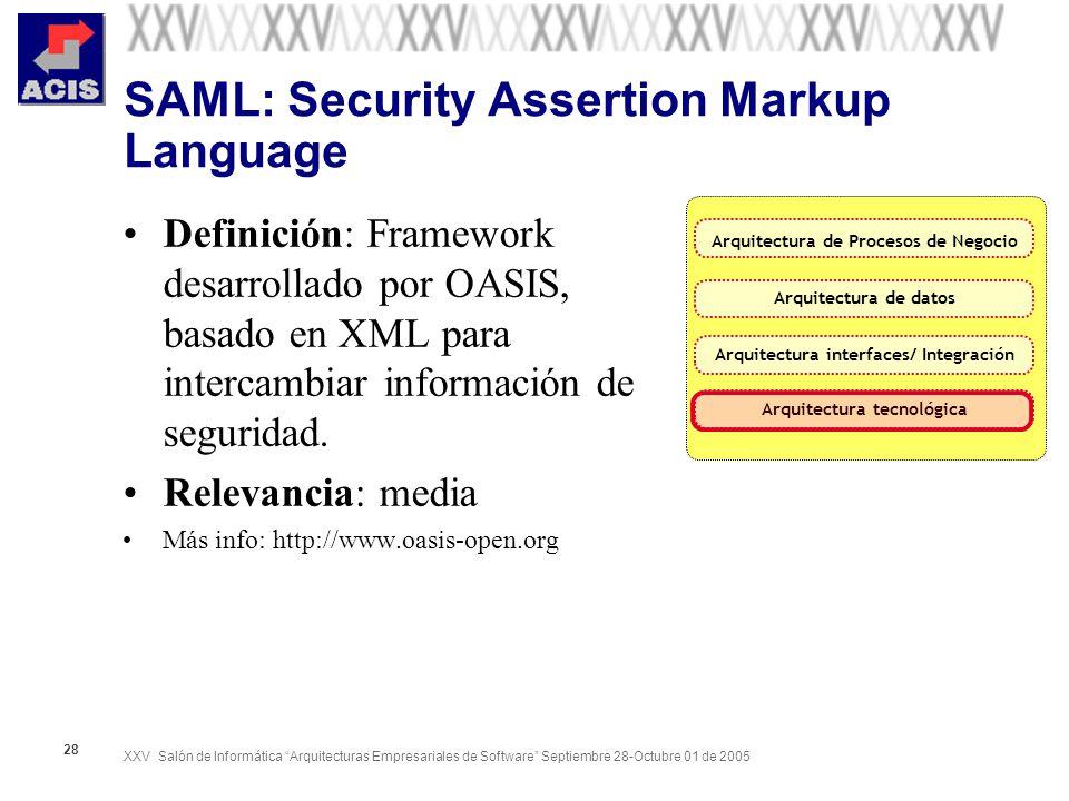 XXV Salón de Informática Arquitecturas Empresariales de Software Septiembre 28-Octubre 01 de 2005 28 SAML: Security Assertion Markup Language Definici