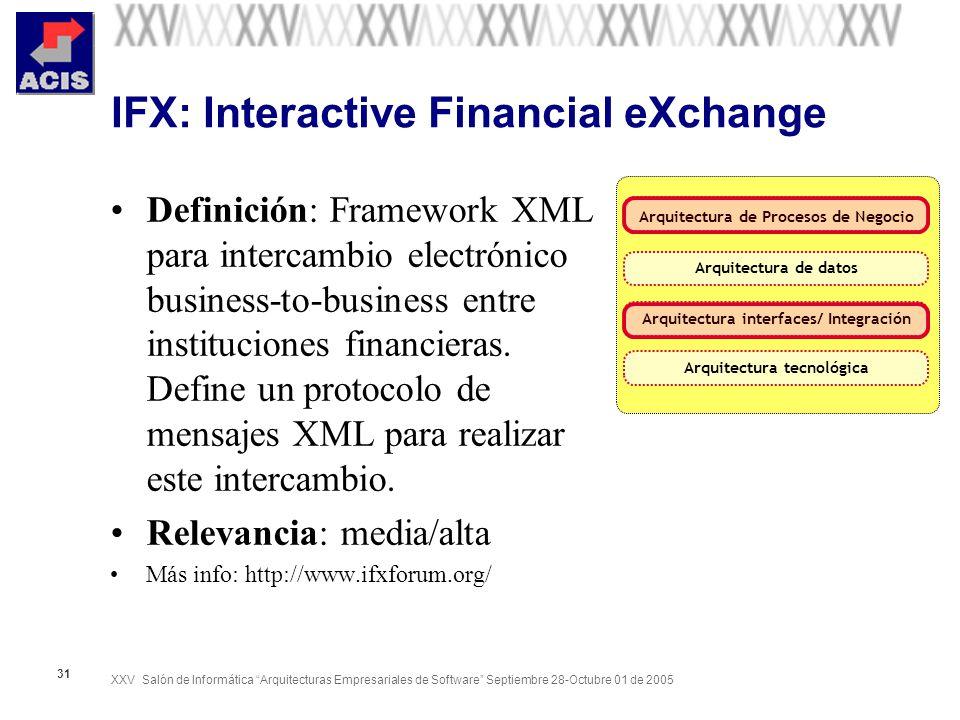 XXV Salón de Informática Arquitecturas Empresariales de Software Septiembre 28-Octubre 01 de 2005 31 IFX: Interactive Financial eXchange Definición: F