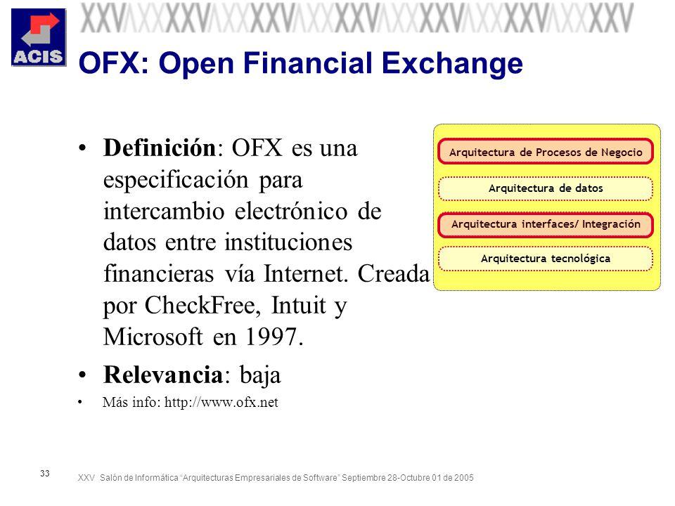XXV Salón de Informática Arquitecturas Empresariales de Software Septiembre 28-Octubre 01 de 2005 33 OFX: Open Financial Exchange Definición: OFX es u