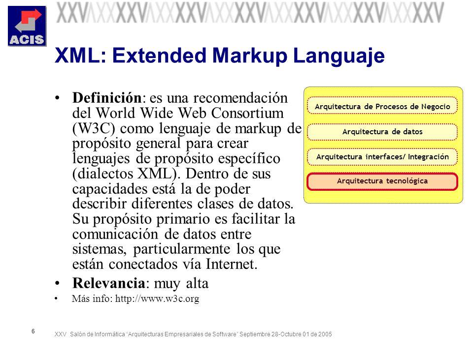 XXV Salón de Informática Arquitecturas Empresariales de Software Septiembre 28-Octubre 01 de 2005 6 XML: Extended Markup Languaje Definición: es una r