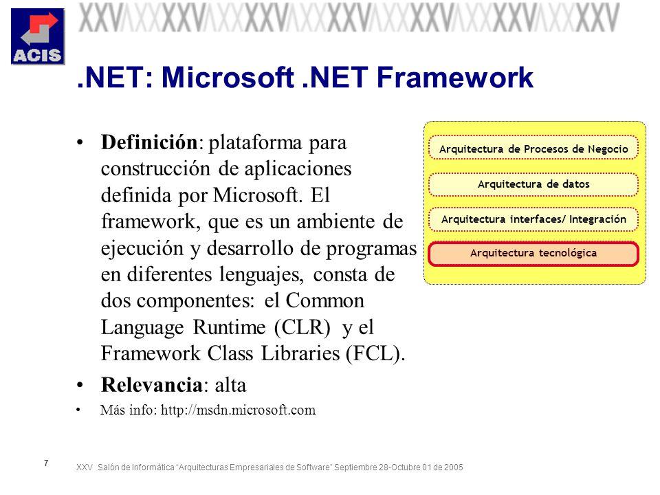 XXV Salón de Informática Arquitecturas Empresariales de Software Septiembre 28-Octubre 01 de 2005 7.NET: Microsoft.NET Framework Definición: plataform
