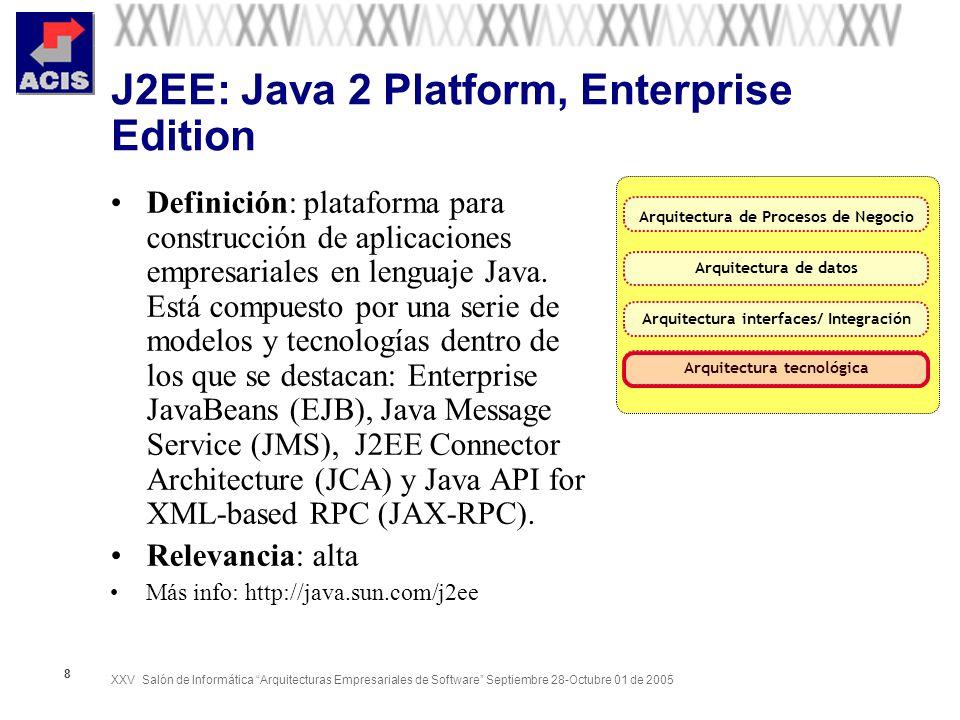 XXV Salón de Informática Arquitecturas Empresariales de Software Septiembre 28-Octubre 01 de 2005 8 J2EE: Java 2 Platform, Enterprise Edition Definici