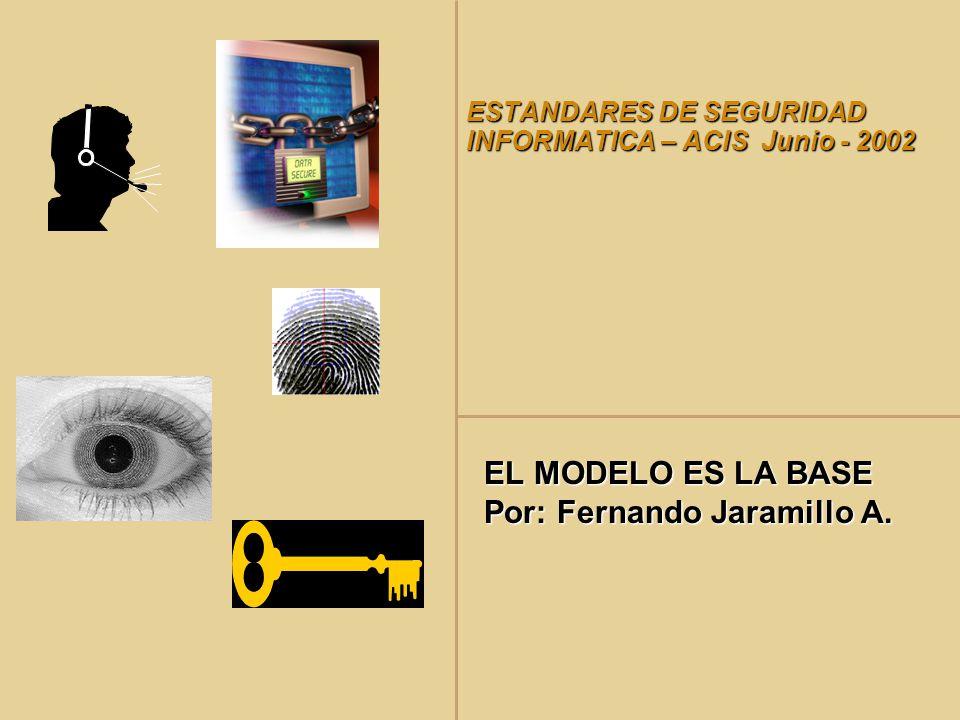 ESTANDARES DE SEGURIDAD INFORMATICA – ACIS Junio - 2002 EL MODELO ES LA BASE Por: Fernando Jaramillo A.