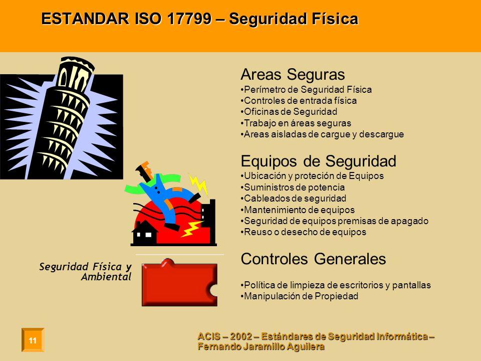 11 ACIS – 2002 – Estándares de Seguridad Informática – Fernando Jaramillo Aguilera ESTANDAR ISO 17799 – Seguridad Física Areas Seguras Perímetro de Se