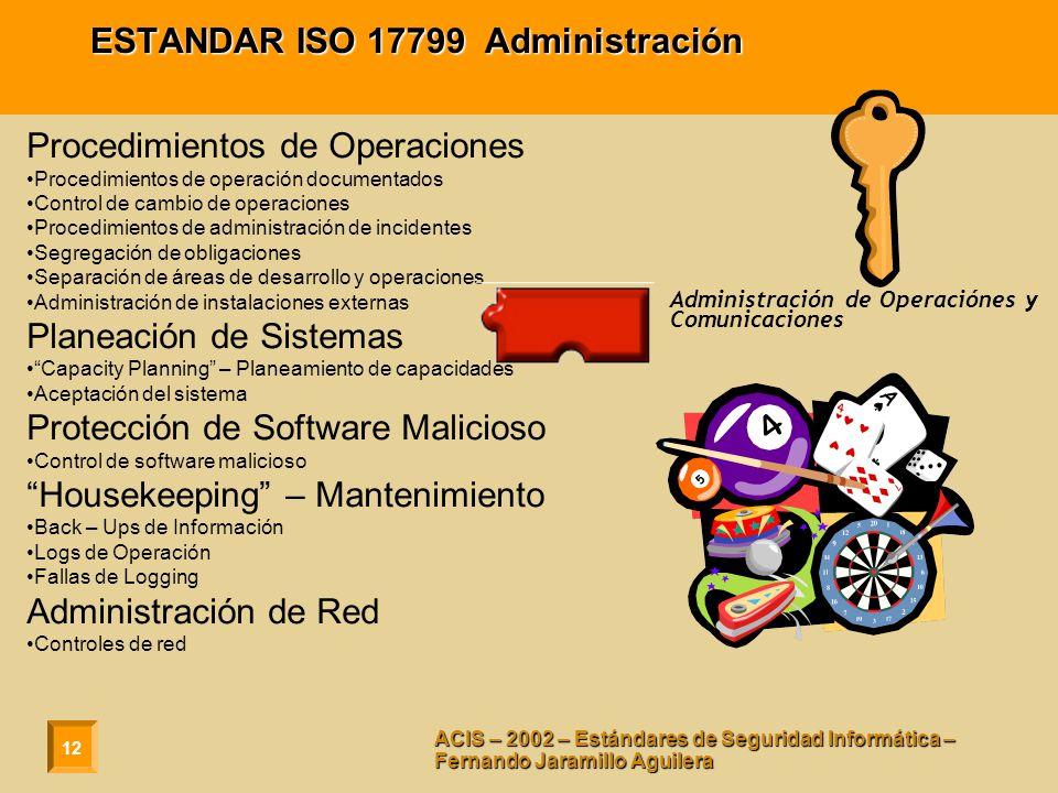 12 ACIS – 2002 – Estándares de Seguridad Informática – Fernando Jaramillo Aguilera ESTANDAR ISO 17799 Administración Procedimientos de Operaciones Pro