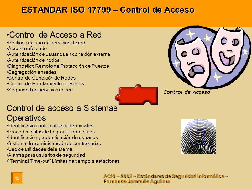 15 ACIS – 2002 – Estándares de Seguridad Informática – Fernando Jaramillo Aguilera ESTANDAR ISO 17799 – Control de Acceso Control de Acceso a Red Polí