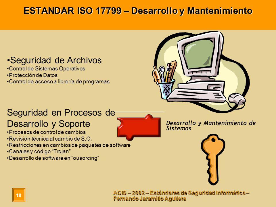 18 ACIS – 2002 – Estándares de Seguridad Informática – Fernando Jaramillo Aguilera ESTANDAR ISO 17799 – Desarrollo y Mantenimiento Seguridad de Archiv