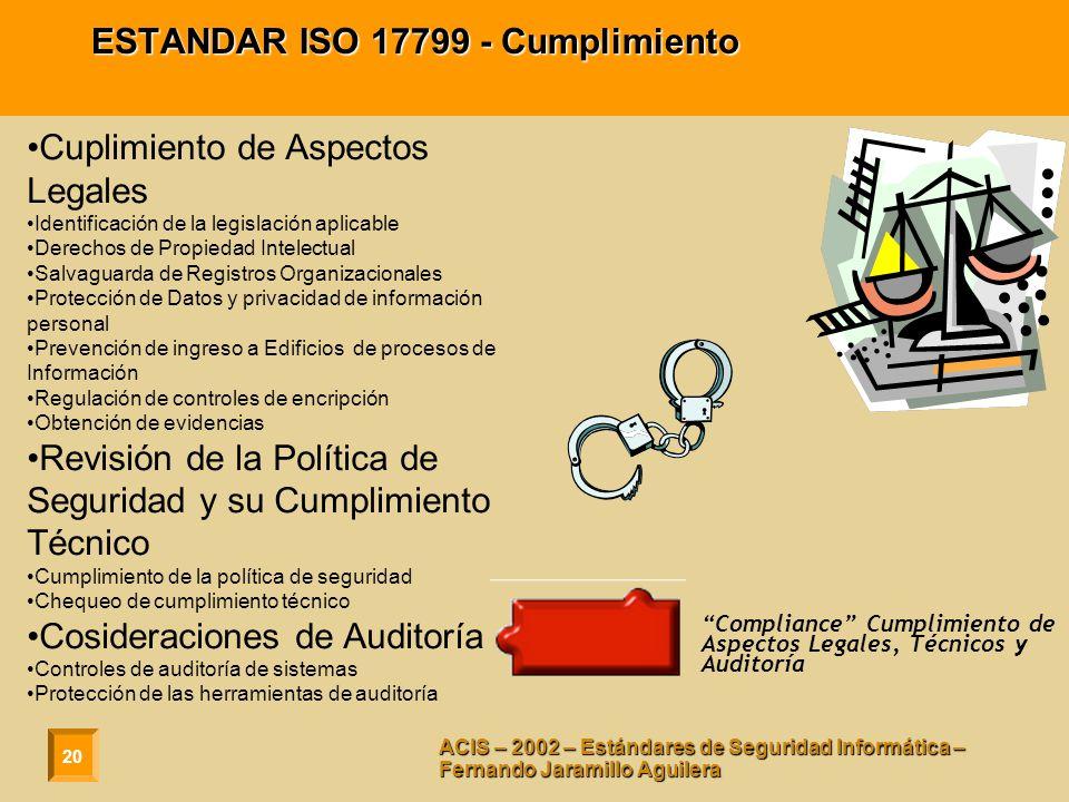 20 ACIS – 2002 – Estándares de Seguridad Informática – Fernando Jaramillo Aguilera ESTANDAR ISO 17799 - Cumplimiento Cuplimiento de Aspectos Legales I