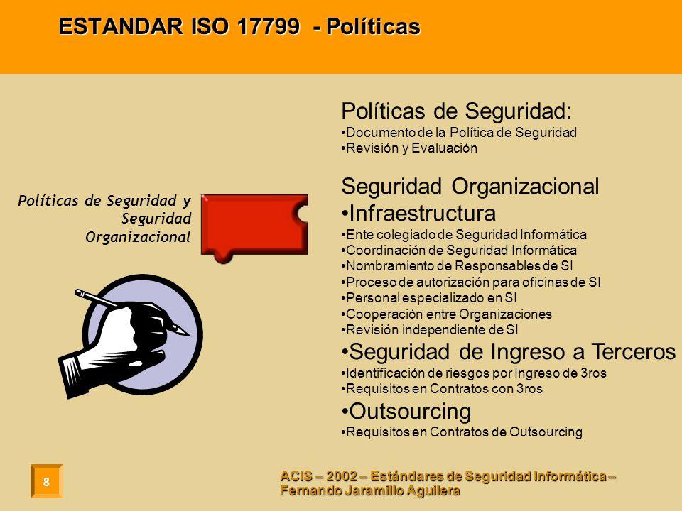 9 ACIS – 2002 – Estándares de Seguridad Informática – Fernando Jaramillo Aguilera ESTANDAR ISO 17799 – Clasificación de Activos Responsabilidad por Activos Inventario de Activos Clasificación de Información Guías de Clasificación.