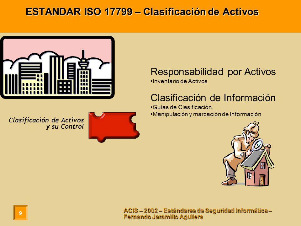 9 ACIS – 2002 – Estándares de Seguridad Informática – Fernando Jaramillo Aguilera ESTANDAR ISO 17799 – Clasificación de Activos Responsabilidad por Ac