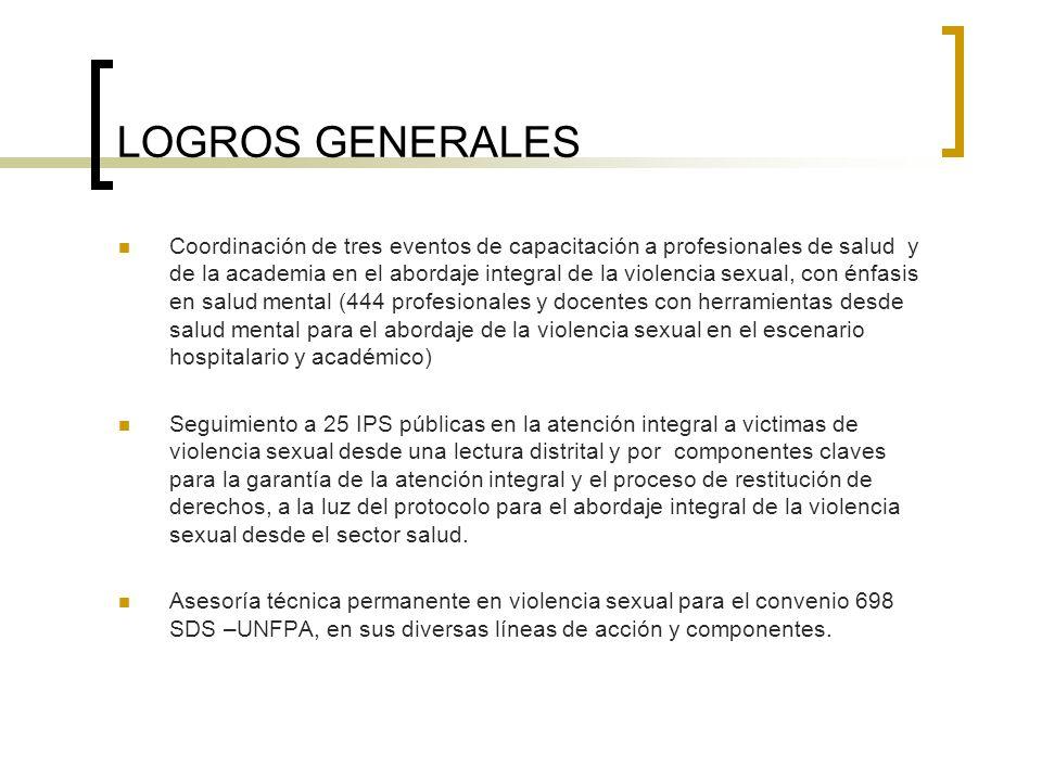 LOGROS GENERALES Coordinación de tres eventos de capacitación a profesionales de salud y de la academia en el abordaje integral de la violencia sexual