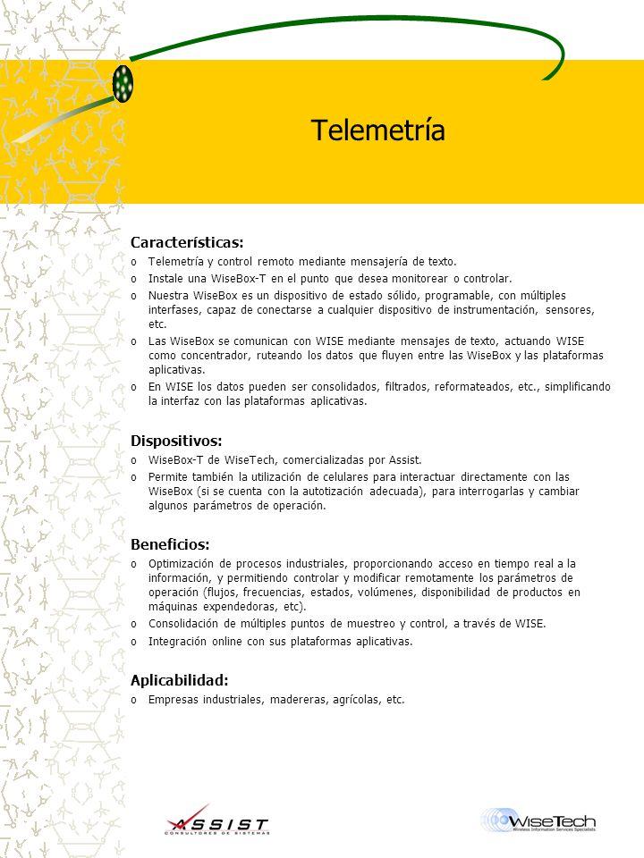Telemetría Características: oTelemetría y control remoto mediante mensajería de texto.
