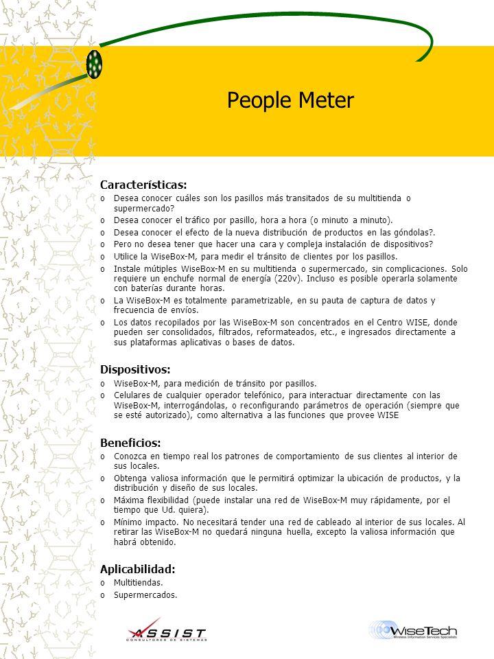 People Meter Características: oDesea conocer cuáles son los pasillos más transitados de su multitienda o supermercado.