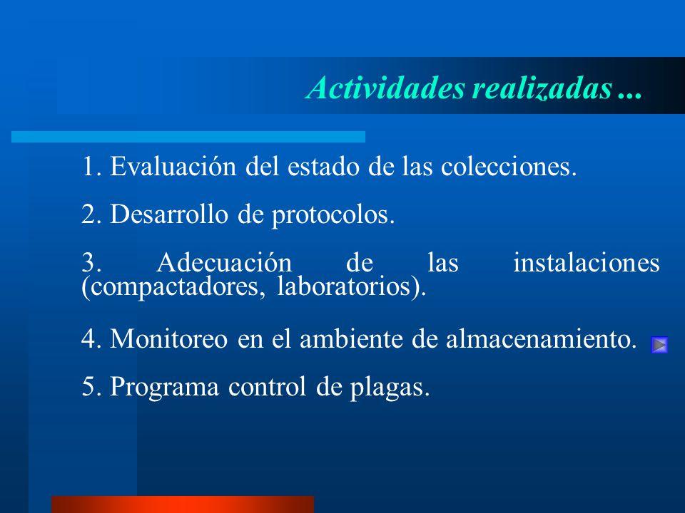 1. Evaluación del estado de las colecciones. Actividades realizadas... 2. Desarrollo de protocolos. 3. Adecuación de las instalaciones (compactadores,