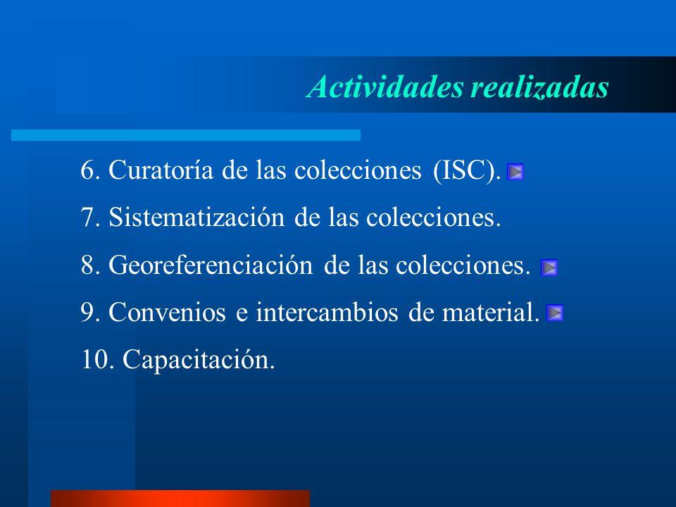 6. Curatoría de las colecciones (ISC). Actividades realizadas 7. Sistematización de las colecciones. 8. Georeferenciación de las colecciones. 9. Conve