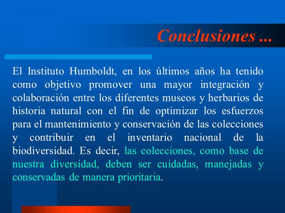 Conclusiones... El Instituto Humboldt, en los últimos años ha tenido como objetivo promover una mayor integración y colaboración entre los diferentes