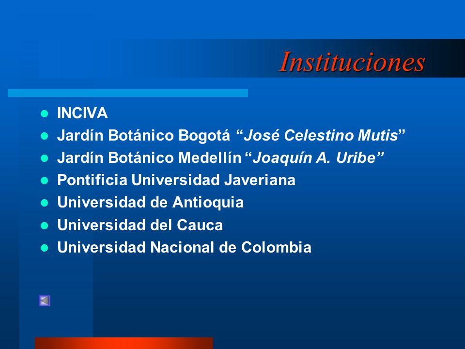 Instituciones INCIVA Jardín Botánico Bogotá José Celestino Mutis Jardín Botánico Medellín Joaquín A. Uribe Pontificia Universidad Javeriana Universida