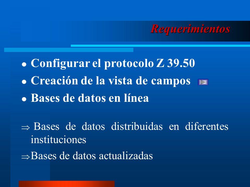 Requerimientos Configurar el protocolo Z 39.50 Creación de la vista de campos Bases de datos en línea Bases de datos distribuidas en diferentes instituciones Bases de datos actualizadas