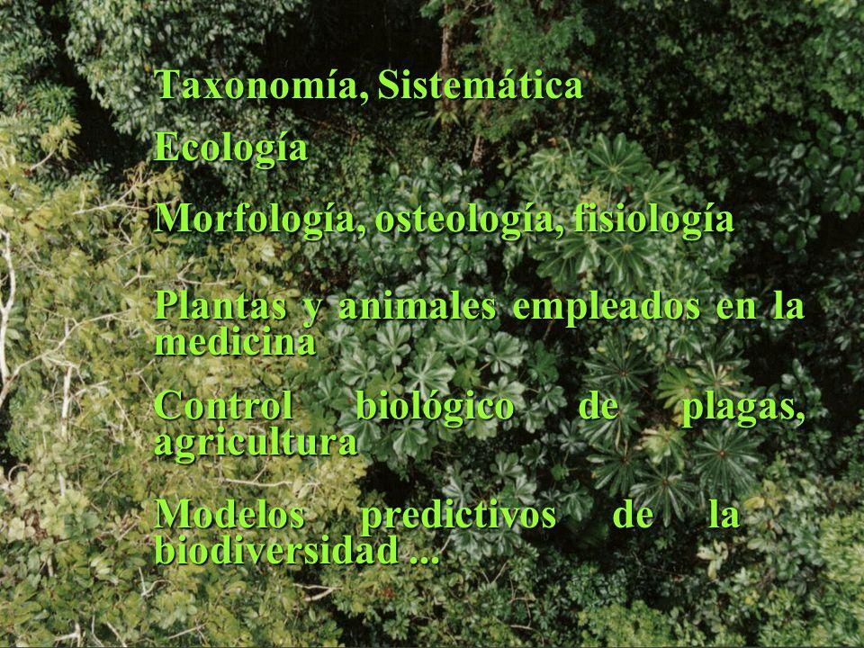 Taxonomía, Sistemática Ecología Morfología, osteología, fisiología Plantas y animales empleados en la medicina Control biológico de plagas, agricultura Modelos predictivos de la biodiversidad...