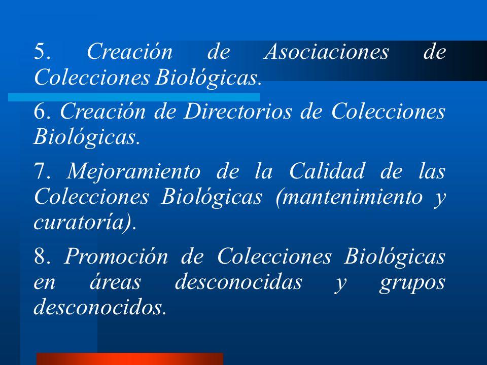 5. Creación de Asociaciones de Colecciones Biológicas. 6. Creación de Directorios de Colecciones Biológicas. 7. Mejoramiento de la Calidad de las Cole