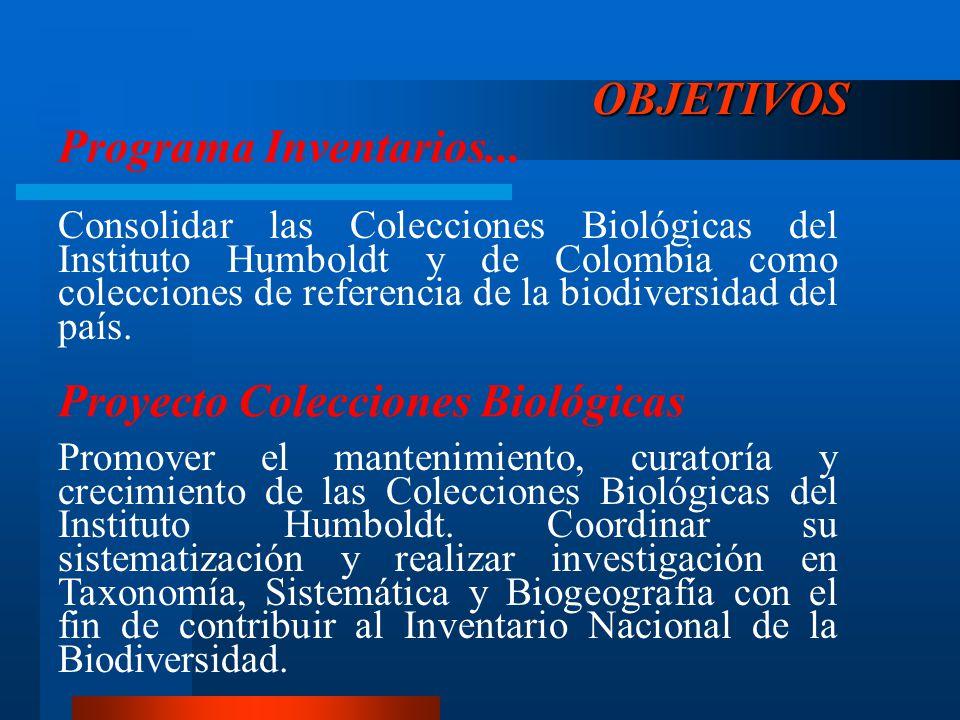 OBJETIVOS Consolidar las Colecciones Biológicas del Instituto Humboldt y de Colombia como colecciones de referencia de la biodiversidad del país. Prog