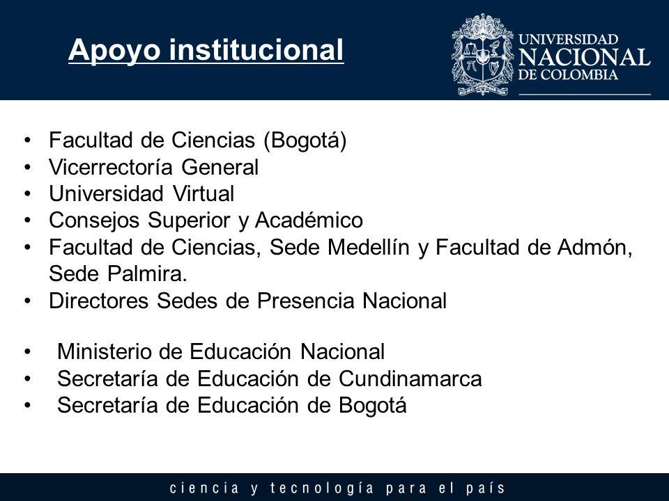 Apoyo institucional Facultad de Ciencias (Bogotá) Vicerrectoría General Universidad Virtual Consejos Superior y Académico Facultad de Ciencias, Sede M
