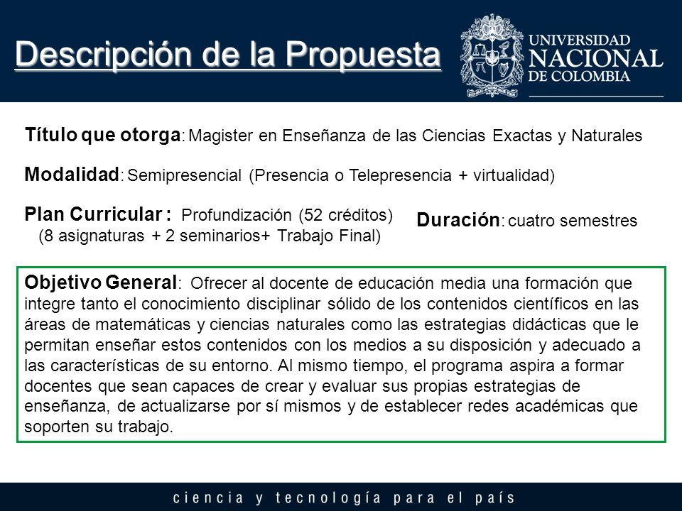 Descripción de la Propuesta Título que otorga : Magister en Enseñanza de las Ciencias Exactas y Naturales Modalidad : Semipresencial (Presencia o Tele