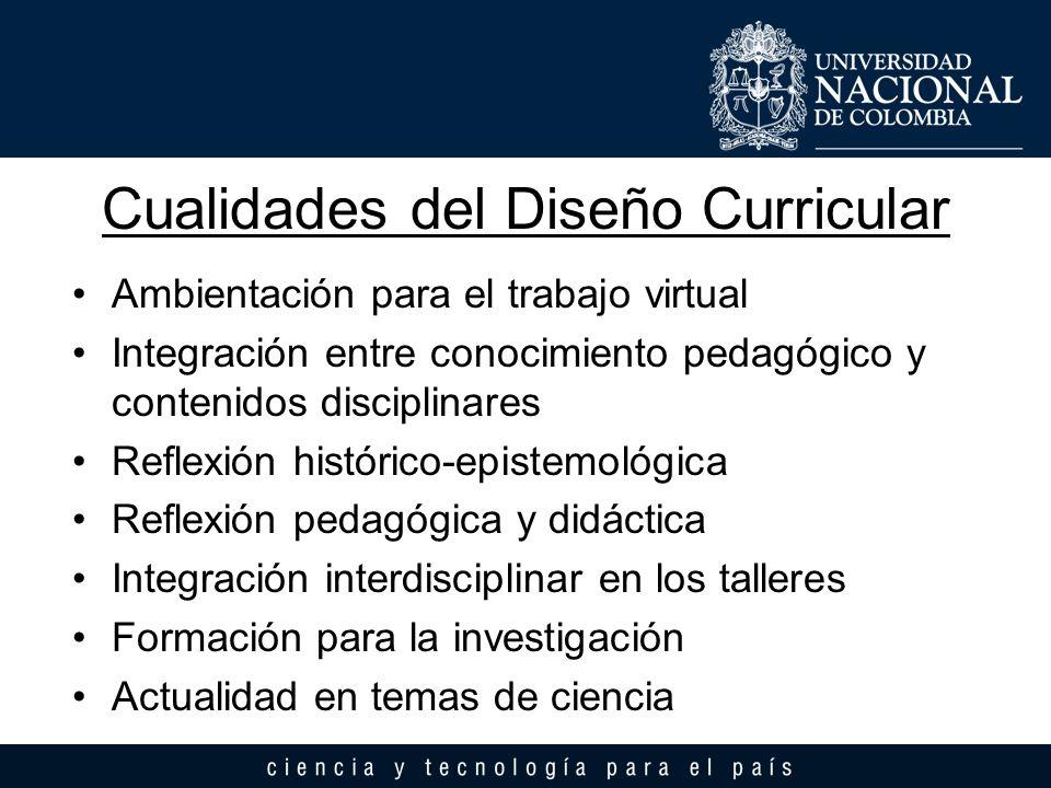 Cualidades del Diseño Curricular Ambientación para el trabajo virtual Integración entre conocimiento pedagógico y contenidos disciplinares Reflexión h