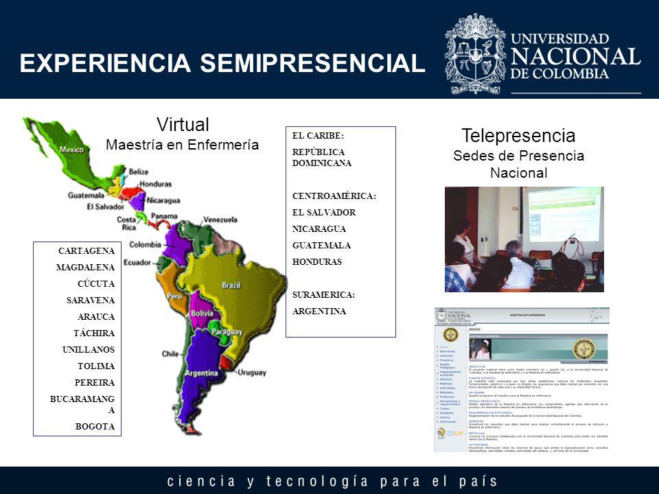 EXPERIENCIA SEMIPRESENCIAL Telepresencia Sedes de Presencia Nacional Virtual Maestría en Enfermería CARTAGENA MAGDALENA CÚCUTA SARAVENA ARAUCA TÁCHIRA