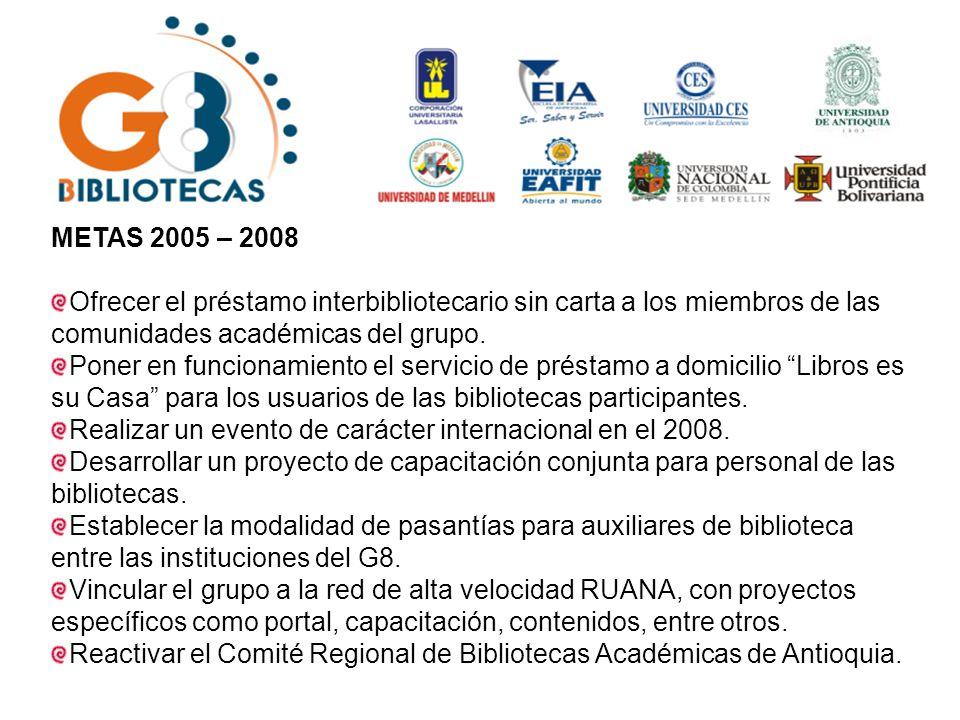 METAS 2005 – 2008 Ofrecer el préstamo interbibliotecario sin carta a los miembros de las comunidades académicas del grupo.