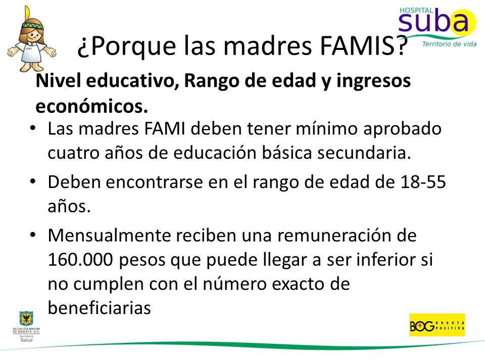 ¿Porque las madres FAMIS? Las madres FAMI deben tener mínimo aprobado cuatro años de educación básica secundaria. Deben encontrarse en el rango de eda