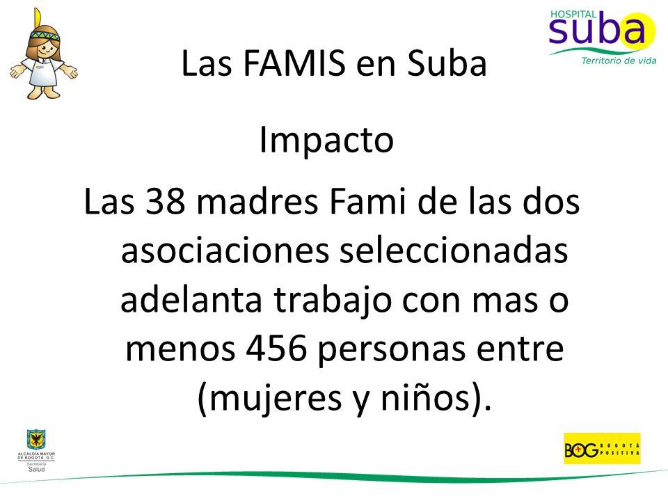 Las FAMIS en Suba Las 38 madres Fami de las dos asociaciones seleccionadas adelanta trabajo con mas o menos 456 personas entre (mujeres y niños). Impa