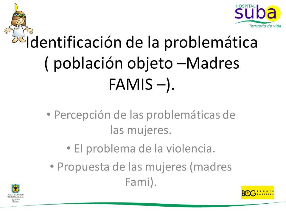 Identificación de la problemática ( población objeto –Madres FAMIS –). Percepción de las problemáticas de las mujeres. El problema de la violencia. Pr
