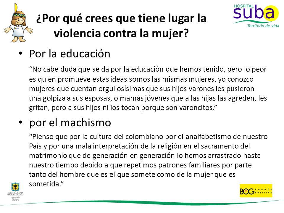 ¿Por qué crees que tiene lugar la violencia contra la mujer? Por la educación No cabe duda que se da por la educación que hemos tenido, pero lo peor e