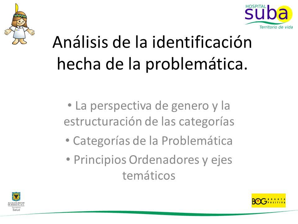 Análisis de la identificación hecha de la problemática. La perspectiva de genero y la estructuración de las categorías Categorías de la Problemática P