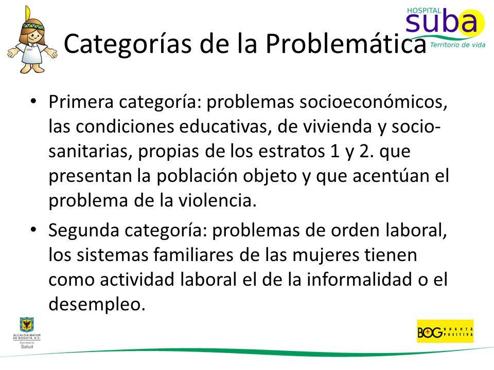 Categorías de la Problemática Primera categoría: problemas socioeconómicos, las condiciones educativas, de vivienda y socio- sanitarias, propias de lo
