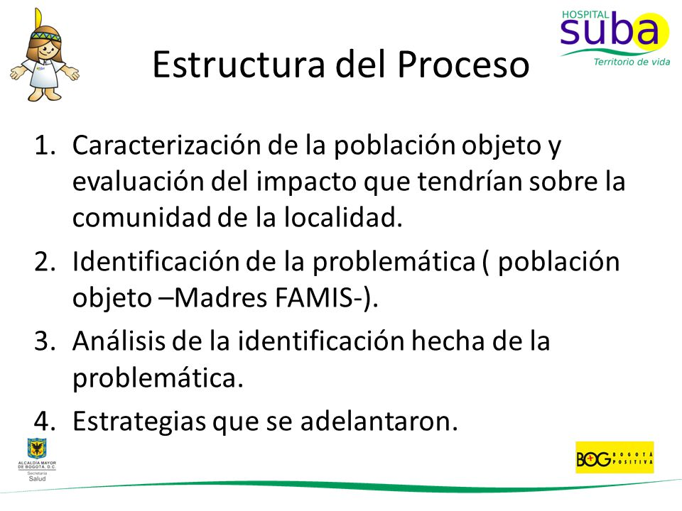 Estructura del Proceso 1.Caracterización de la población objeto y evaluación del impacto que tendrían sobre la comunidad de la localidad. 2.Identifica