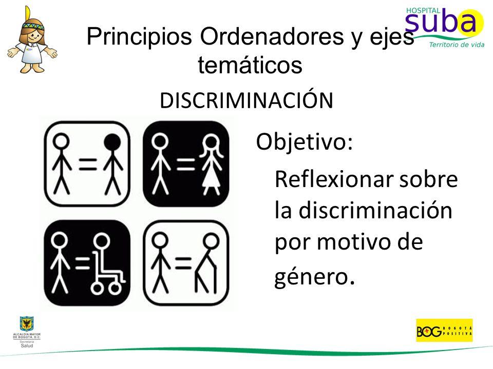 DISCRIMINACIÓN Objetivo: Reflexionar sobre la discriminación por motivo de género. Principios Ordenadores y ejes temáticos