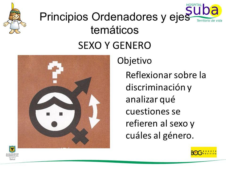 SEXO Y GENERO Objetivo Reflexionar sobre la discriminación y analizar qué cuestiones se refieren al sexo y cuáles al género. Principios Ordenadores y