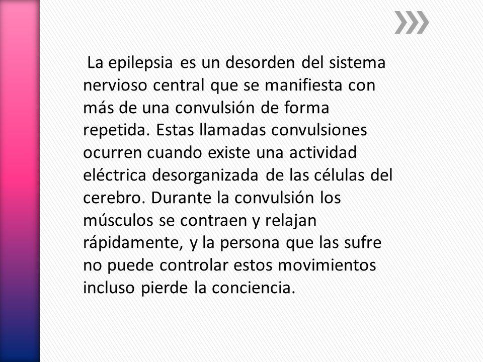 La epilepsia es un desorden del sistema nervioso central que se manifiesta con más de una convulsión de forma repetida. Estas llamadas convulsiones oc
