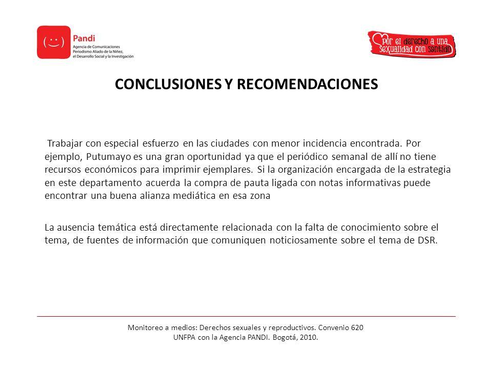CONCLUSIONES Y RECOMENDACIONES Trabajar con especial esfuerzo en las ciudades con menor incidencia encontrada.