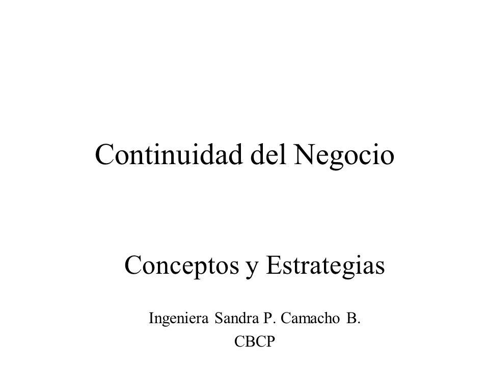 Continuidad del Negocio Conceptos y Estrategias Ingeniera Sandra P. Camacho B. CBCP