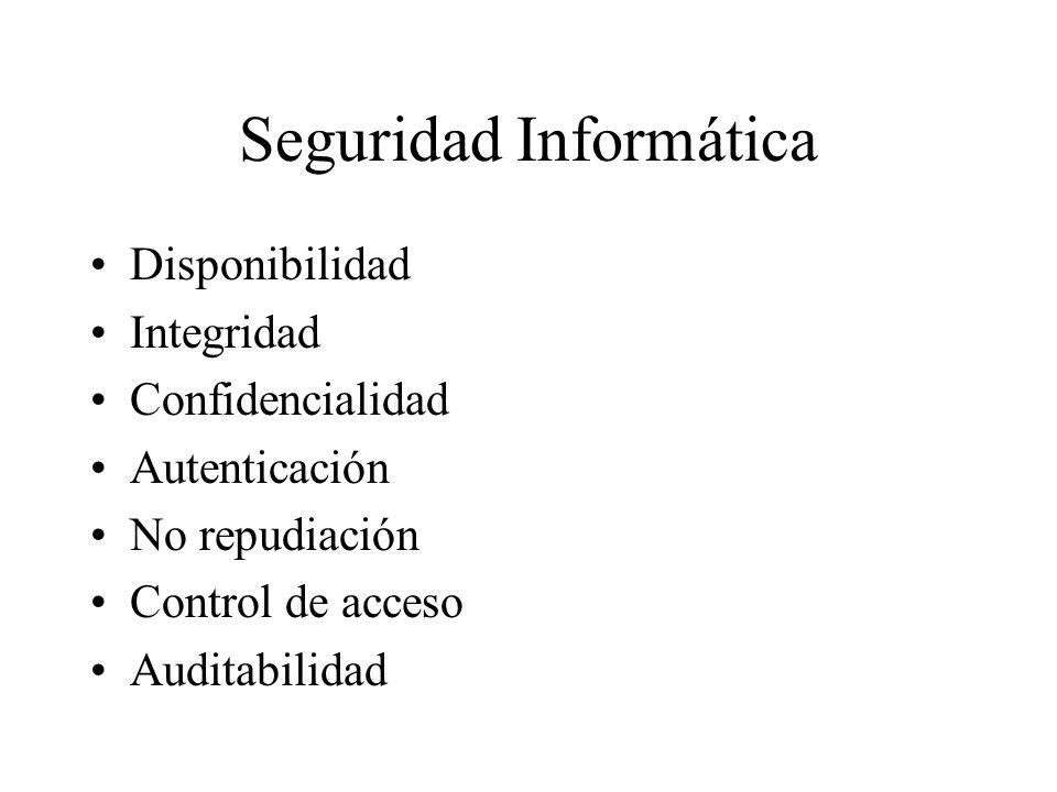 Seguridad Informática Disponibilidad Integridad Confidencialidad Autenticación No repudiación Control de acceso Auditabilidad