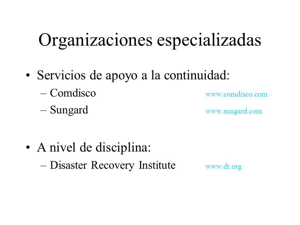 Organizaciones especializadas Servicios de apoyo a la continuidad: –Comdisco www.comdisco.com –Sungard www.sungard.com A nivel de disciplina: –Disaster Recovery Institute www.dr.org