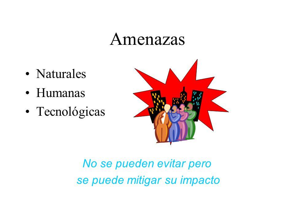 Amenazas Naturales Humanas Tecnológicas No se pueden evitar pero se puede mitigar su impacto