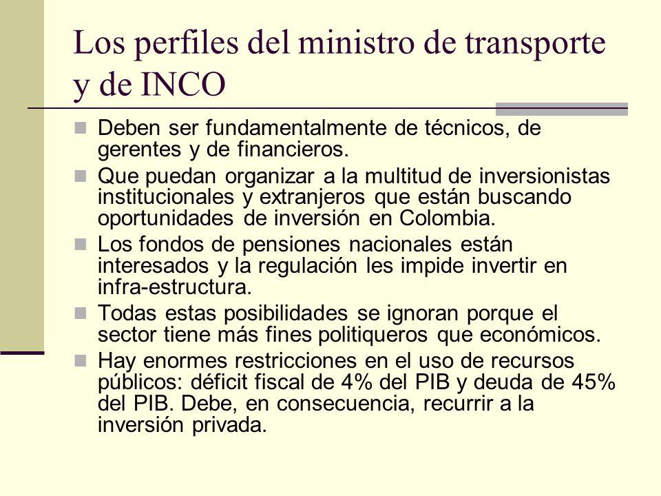 Los perfiles del ministro de transporte y de INCO Deben ser fundamentalmente de técnicos, de gerentes y de financieros.