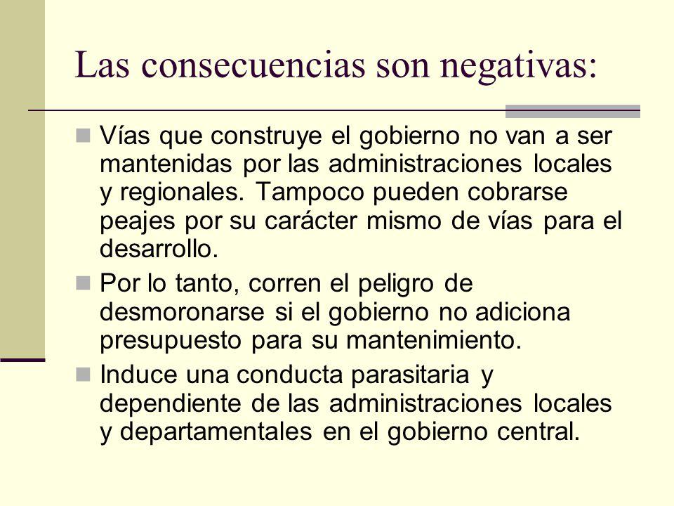 Las consecuencias son negativas: Vías que construye el gobierno no van a ser mantenidas por las administraciones locales y regionales.